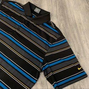 Men's Nike (NIKE) Black, Blue, & Yellow Golf Shirt